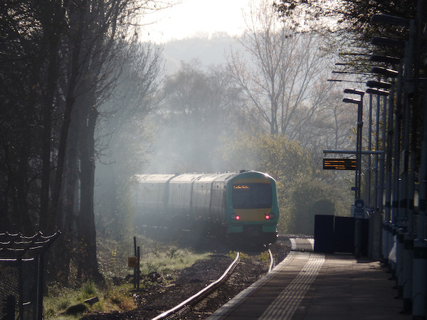 Photo of train approaching Uckfield station at dawn