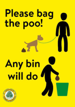 Poster saying Please bag the poo, any bin will do