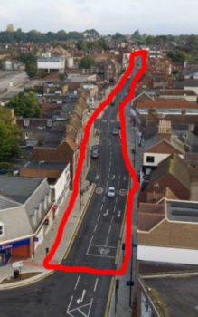 Aerial photo of Uckfield High Street to show the perimeter walk
