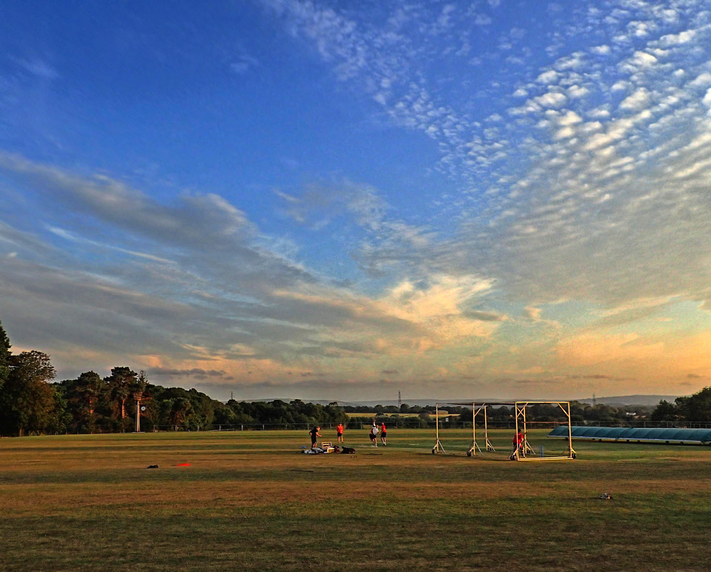 Cricket practice at Victoria Pleasure Ground