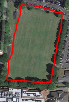 Aerial photo of Luxford field to show the perimeter walk