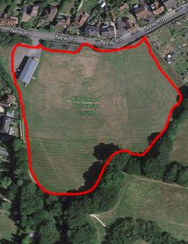 Aerial photo of Ridgewood Recreation Ground to show the perimeter walk