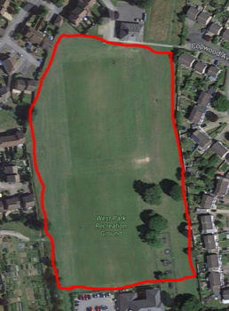 Aerial photo of West Park Recreation ground to show the perimeter walk