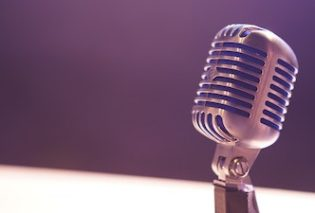 photograph of an old fashioned microphone
