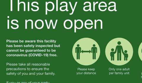 Photograph of the play area open signage with Covid 19 rules