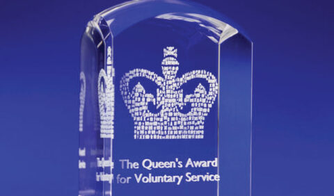 Queens Award for voluntary service crystal domed award